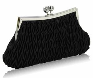 saténové čierne kabelky, plesové kabelky